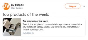 Unser ZELOS-Schienensystem wurde von pv Europe zum Top-Produkt der Woche gewählt