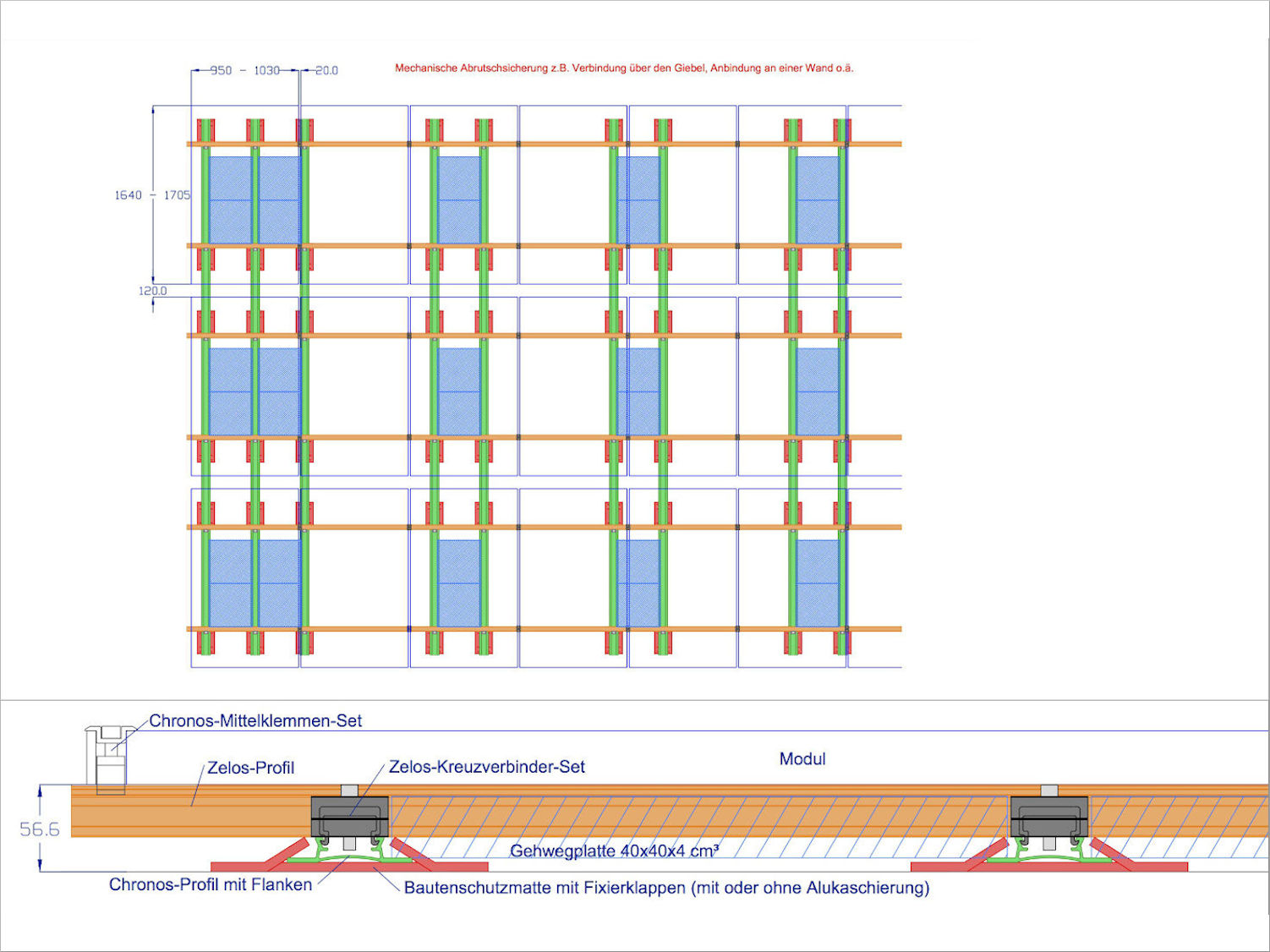 Kreuzschienensystem auf Dächern bis max. 30° Dachneigung; ohne Dachdurchdringung