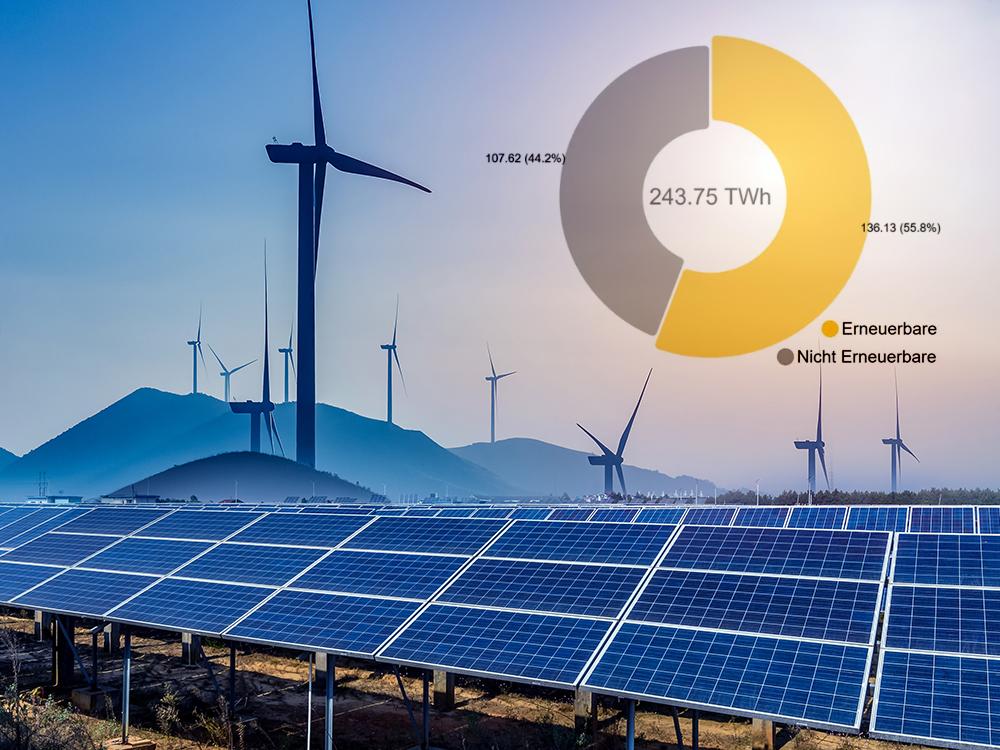 Rekordanteil erneuerbarer Energien - @shutterstock|Talaj / @Fraunhofer ISE,Grafik: B. Burger